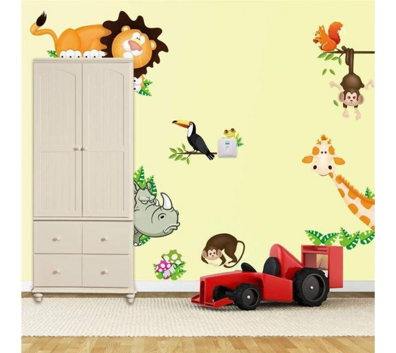 stickers animaux de la jungle. Black Bedroom Furniture Sets. Home Design Ideas