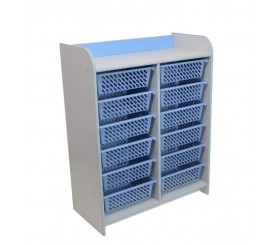 Double tall storage cabinet for children